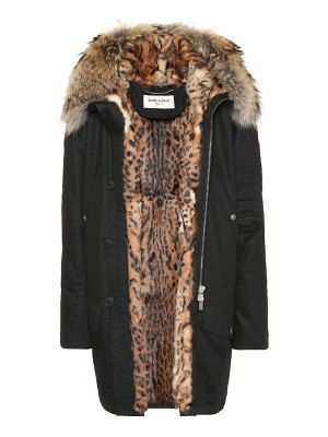 Saint Laurent Fur-lined cotton-blend parka