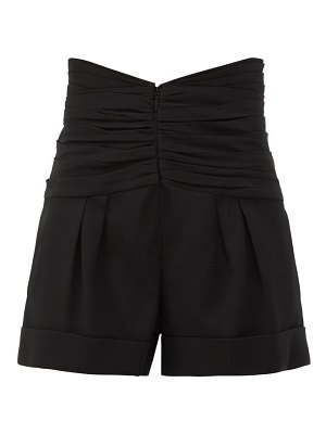 Saint Laurent gathered-waist tailored grain de poudre shorts