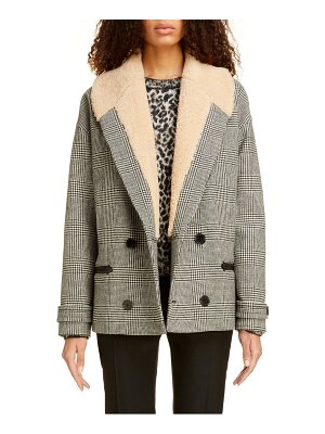 Saint Laurent genuine shearling collar glen plaid coat