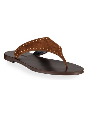 Saint Laurent Gia Studded Suede Thong Sandals