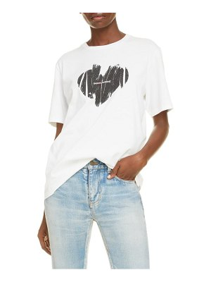 Saint Laurent graphic heart logo cotton tee
