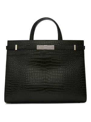Saint Laurent green croc small manhattan bag
