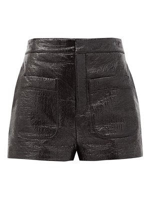 Saint Laurent high-rise lacquered cotton-blend shorts