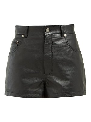 Saint Laurent high rise leather shorts