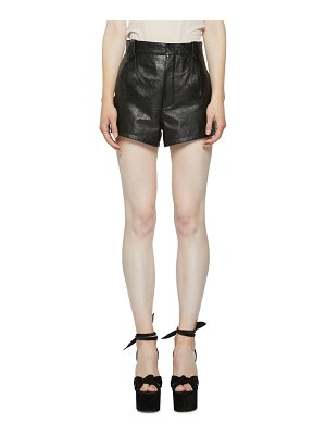 Saint Laurent High-Rise Leather Shorts