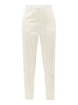Saint Laurent high-rise pleated satin trousers
