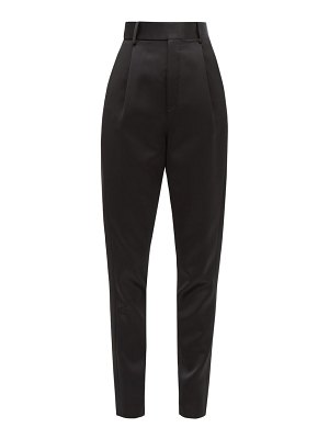 Saint Laurent high rise satin tapered trousers
