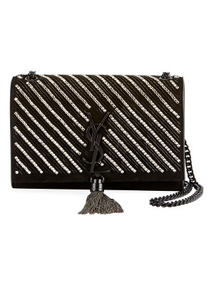 Saint Laurent Kate Small YSL Monogram Tassel Crossbody Bag with Crystal Stripes