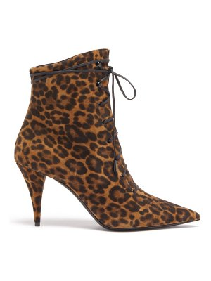 Saint Laurent kiki lace-up leopard-print suede ankle boots