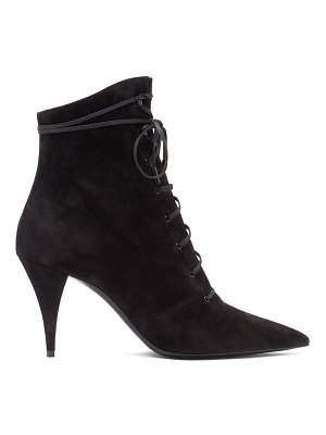 Saint Laurent kiki pointed lace-up suede boots