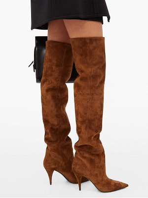 Saint Laurent kiki slouchy suede over the knee boots