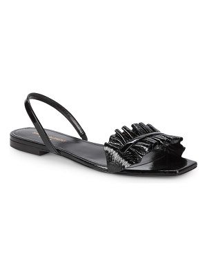 Saint Laurent Leather Ruffle Sandals