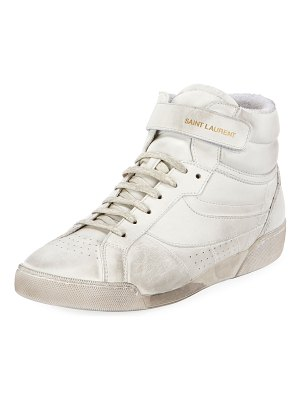 Saint Laurent Lenny Leather High-Top Sneakers