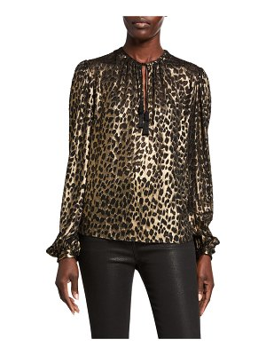 Saint Laurent Leopard-Print Long-Sleeve V-Neck Blouse