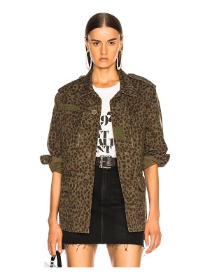 Saint Laurent Leopard Print Military Parka