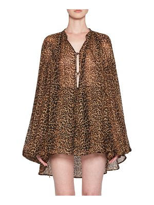 Saint Laurent leopard print peasant top