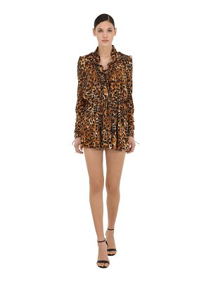Saint Laurent Leopard print silk georgette mini dress