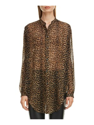 Saint Laurent leopard print wool tunic