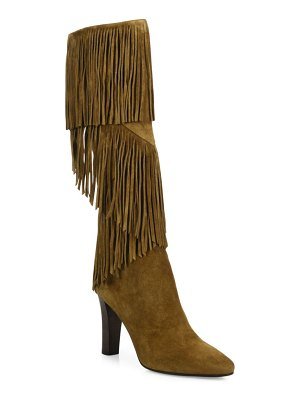 Saint Laurent Lily Fringed Suede Boots