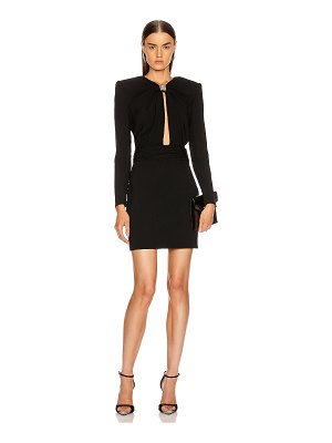 Saint Laurent long sleeve keyhole mini dress