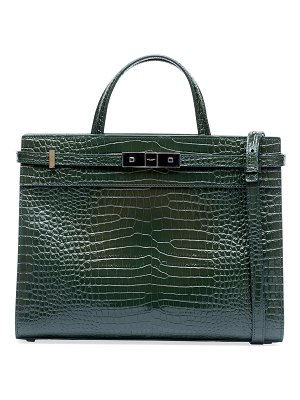 Saint Laurent Manhattan Medium Crocodile-Embossed Tote Bag