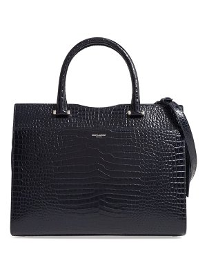 Saint Laurent medium cabas uptown croc embossed leather satchel
