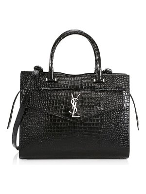 Saint Laurent medium uptown cabas crocodile-embossed leather top handle bag