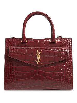 Saint Laurent medium uptown cabas croc embossed leather satchel