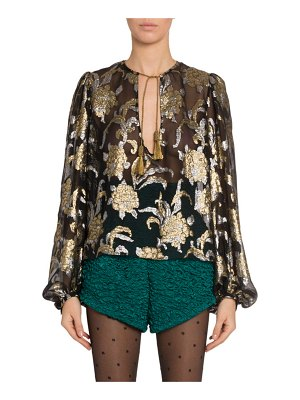Saint Laurent Metallic Embroidered Chiffon Blouse