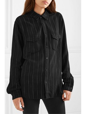 Saint Laurent metallic striped flannel shirt