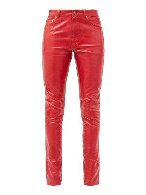 Saint Laurent mid-rise vinyl-coated skinny-leg jeans