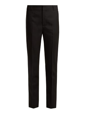 Saint Laurent Mid Rise Slim Leg Wool Gabardine Trousers