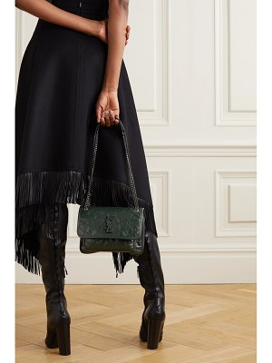 Saint Laurent niki mini crinkled glossed-leather shoulder bag