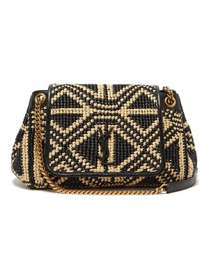 Saint Laurent nolita medium woven-raffia shoulder bag