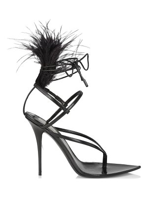 Saint Laurent nue feather-trimmed leather sandals