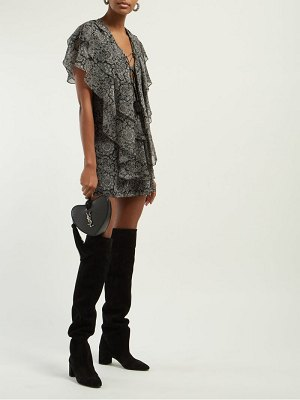 Saint Laurent paisley print ruffled silk georgette mini dress