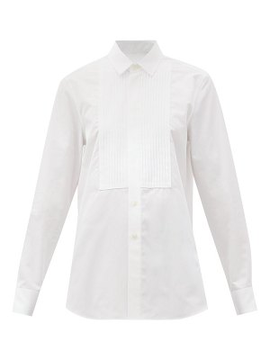 Saint Laurent pintucked-bib cotton-poplin tuxedo shirt