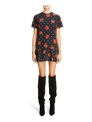 Saint Laurent polka dot & rose print silk dress