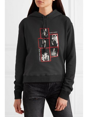Saint Laurent printed cotton-jersey hoodie