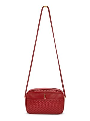 Saint Laurent red quilted victorie camera bag
