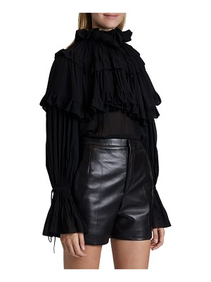 Saint Laurent Ruffled Chiffon High-Neck Top