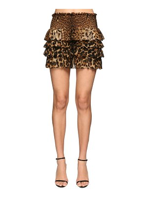Saint Laurent Ruffled leopard print silk mini skirt