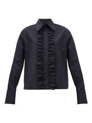 Saint Laurent ruffled-placket poplin shirt