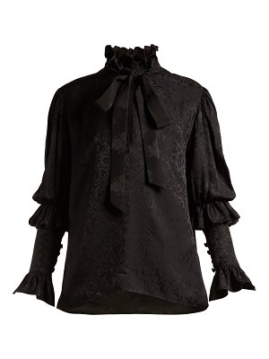 Saint Laurent pussy bow floral jacquard blouse
