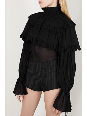 Saint Laurent ruffled tiered silk-chiffon blouse