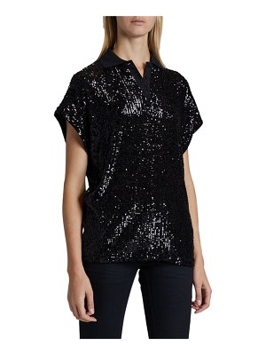 Saint Laurent Sequined Short-Sleeve Polo Shirt