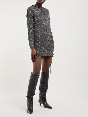 Saint Laurent sequinned knitted mini dress