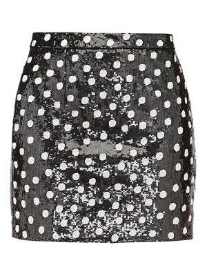 Saint Laurent sequinned polka-dot wool mini skirt