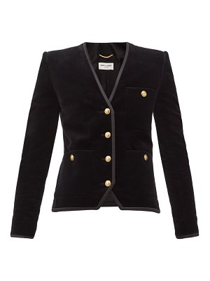 Saint Laurent single-breasted cotton-velvet jacket
