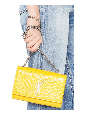 Saint Laurent Small Ostrich Embossed Monogramme Kate Chain Bag